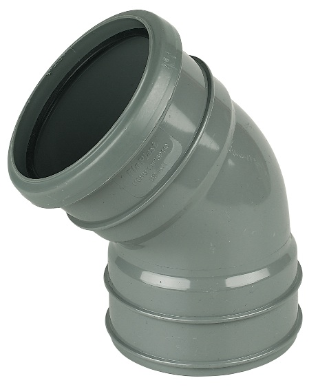 "Floplast SP440GR 110mm/4"" Ring Seal Soil System - 135 Degree Offset Bend Double Socket - Grey"