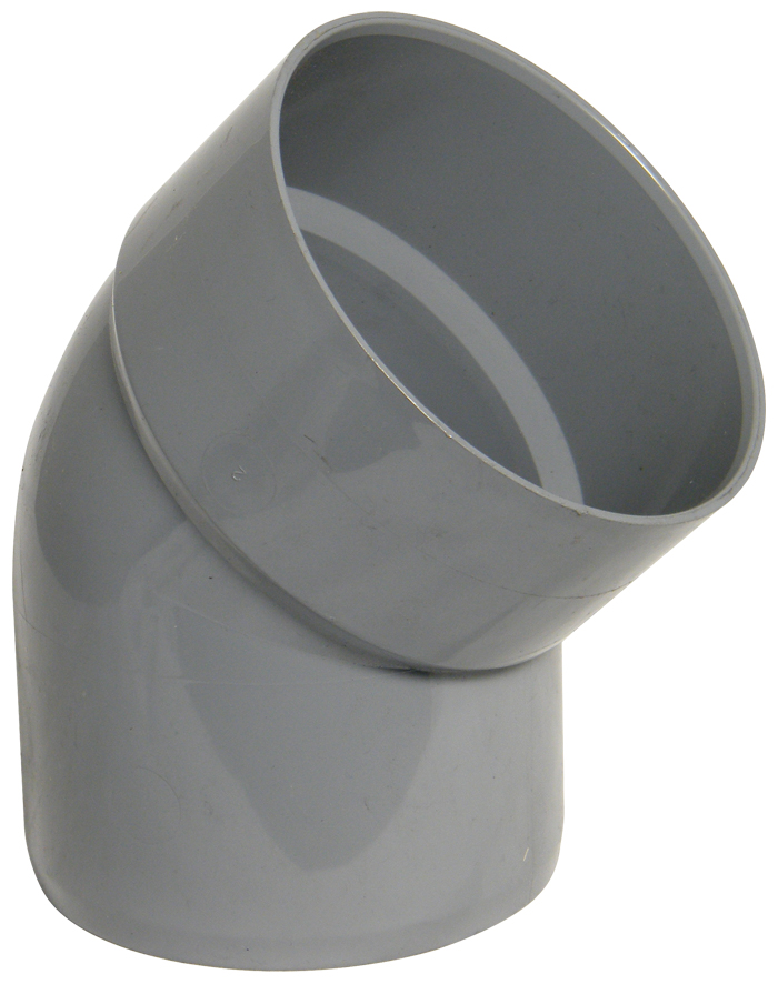 "Floplast SP435GR 110mm/4"" Ring Seal Soil System - 135 Degree Offset Bend Single Socket - Grey"