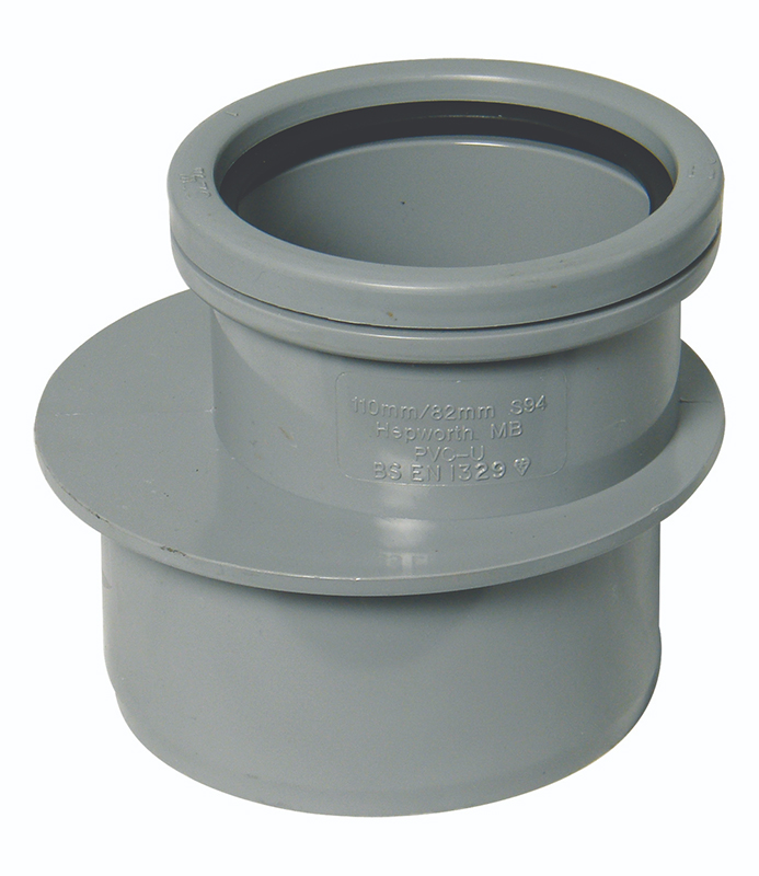 Floplast SP97GR 110mm/4 Inch Ring Seal Soil System - 110mm x 82mm Reducer - Grey