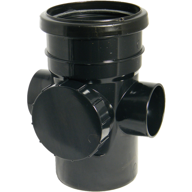 FLOPLAST SP274BL 110MM RING SEAL SOIL SYSTEM - ACCESS PIPE - BLACK
