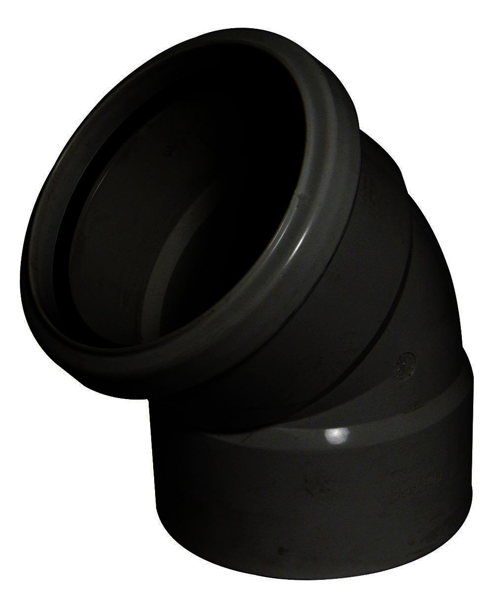 Floplast SP440BL 110mm/4 Inch Ring Seal Soil System - 135 Degree Offset Bend Double Socket - Black
