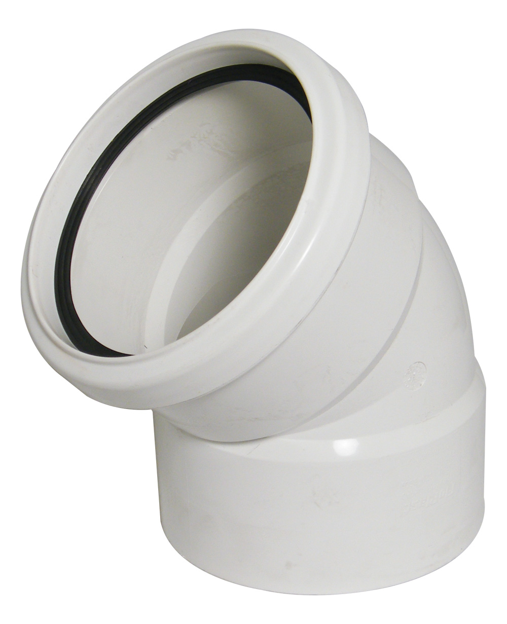 FLOPLAST SP440WH 110MM RING SEAL SOIL SYSTEM - 135* OFFSET BEND - WHITE