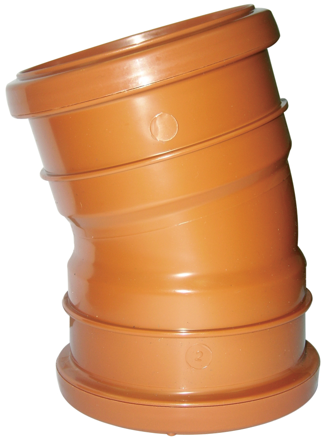 Floplast D567 15* Bend Double Socket 110mm Underground Drainage