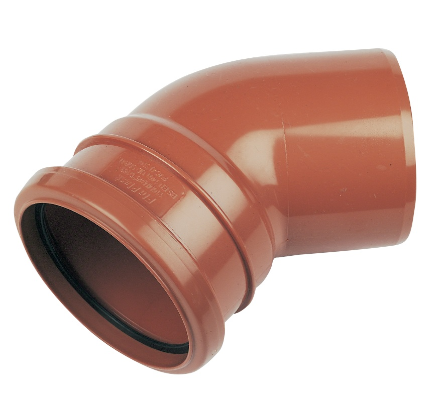 Floplast D163 45* Bend Single Socket 110mm Underground Drainage