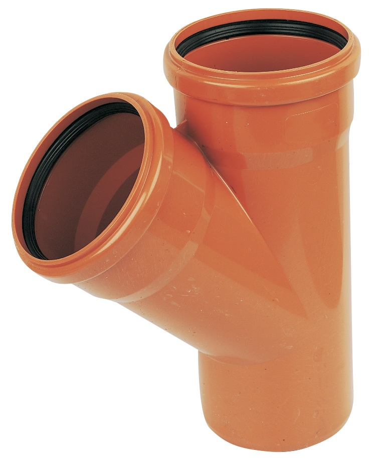 Floplast D210 45* Branch Double Socket 110mm Underground Drainage