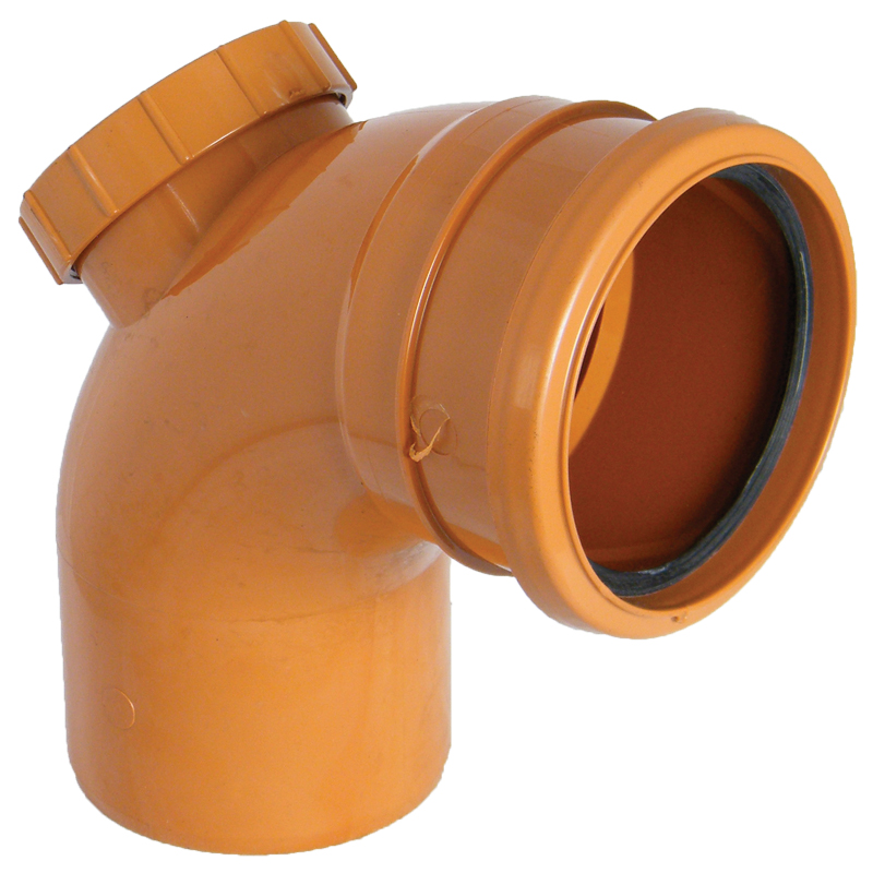 Floplast D169 87.5* Access Bend Single Socket 110mm Underground Drainage