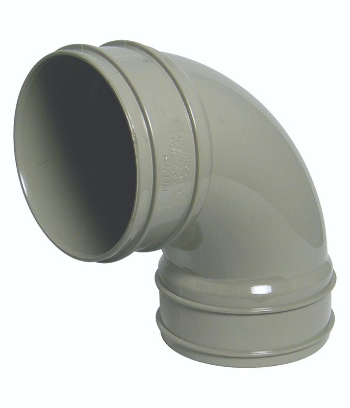 Floplast SS561GR 92.5 Deg Bend Double Socket 110mm Solvent Weld Soil System - Olive Grey