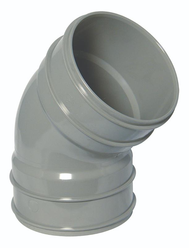 Floplast SS563GR 135 Deg Bend Double Socket 110mm Solvent Weld Soil System - Olive Grey