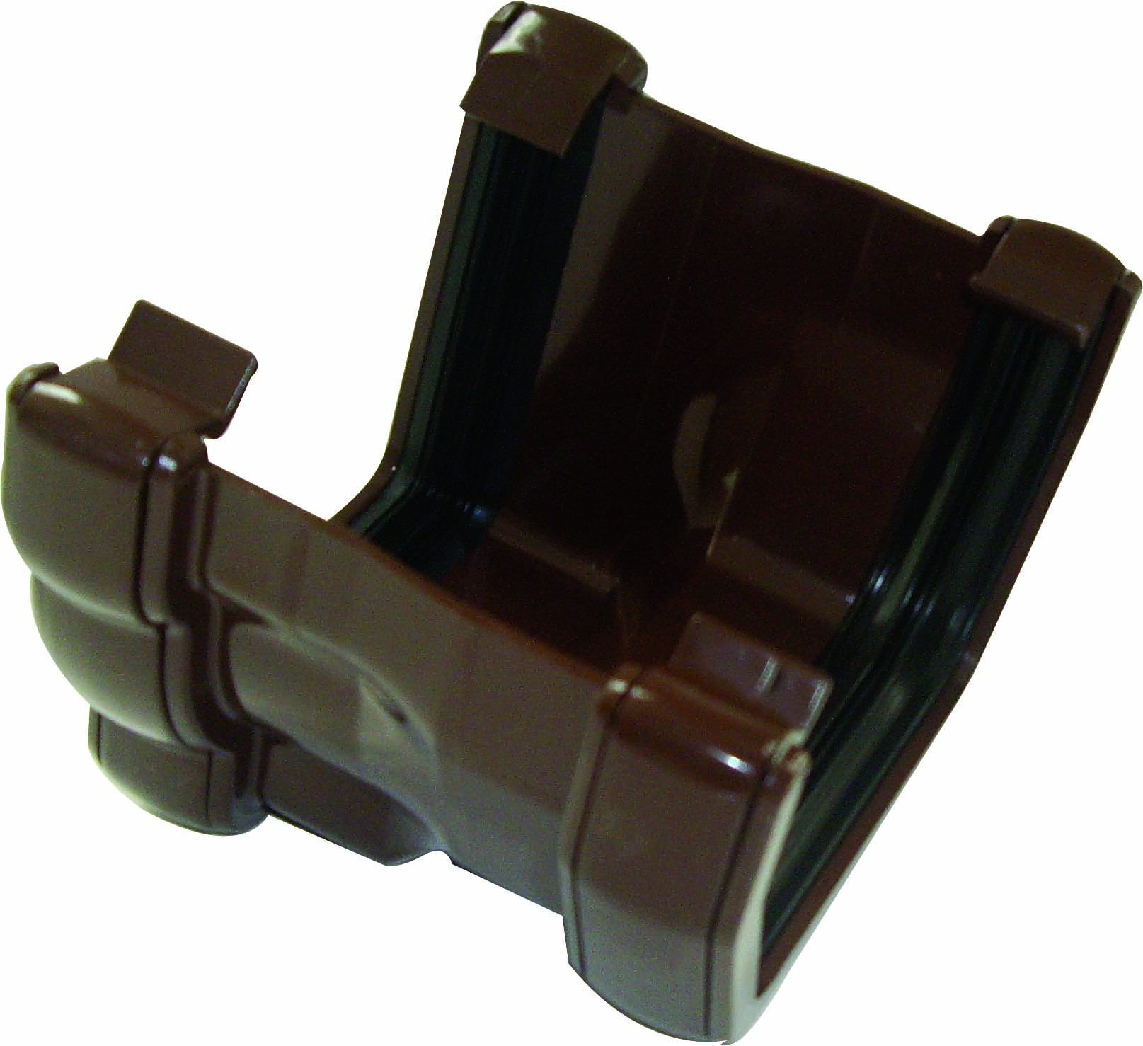 FLOPLAST RNR3BR 110MM NIAGARA TO 112MM HALF ROUND GUTTER ADAPTOR - R/H - BROWN