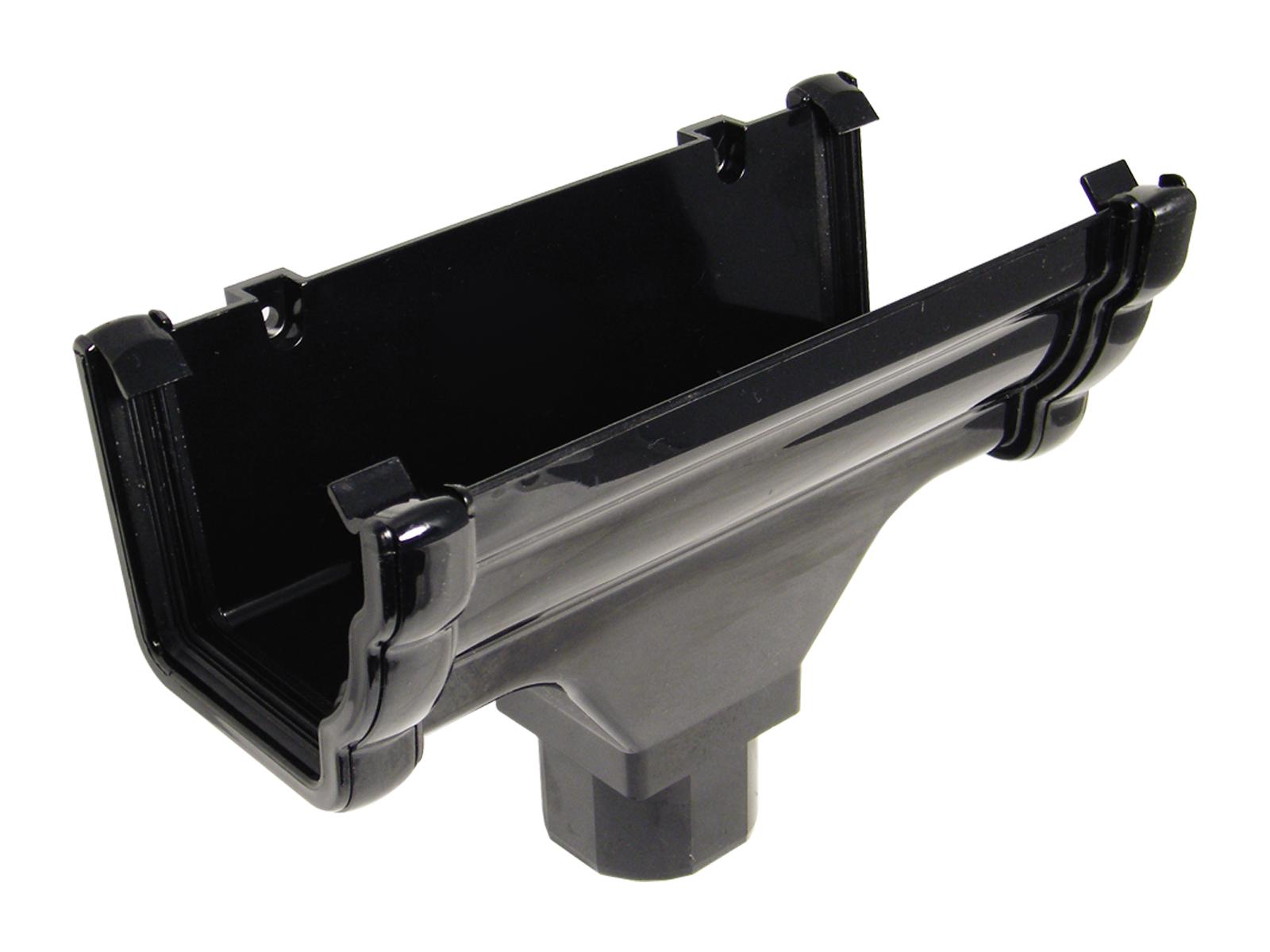 Floplast RON1BL 110mm Niagara Ogee Gutter - Running Outlet - Black
