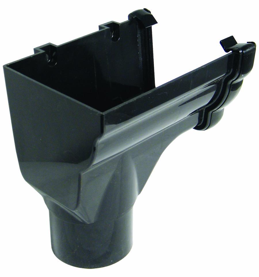 Floplast RON2BL 110mm Niagara Ogee Gutter - Left Hand Stopend Outlet - Black