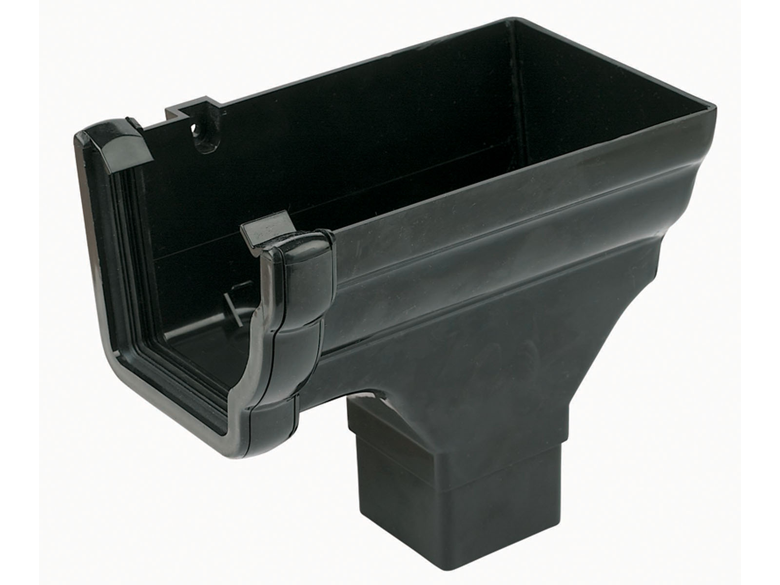 RON3BL RH S/END OUTLET NIAG GUTTER BLACK