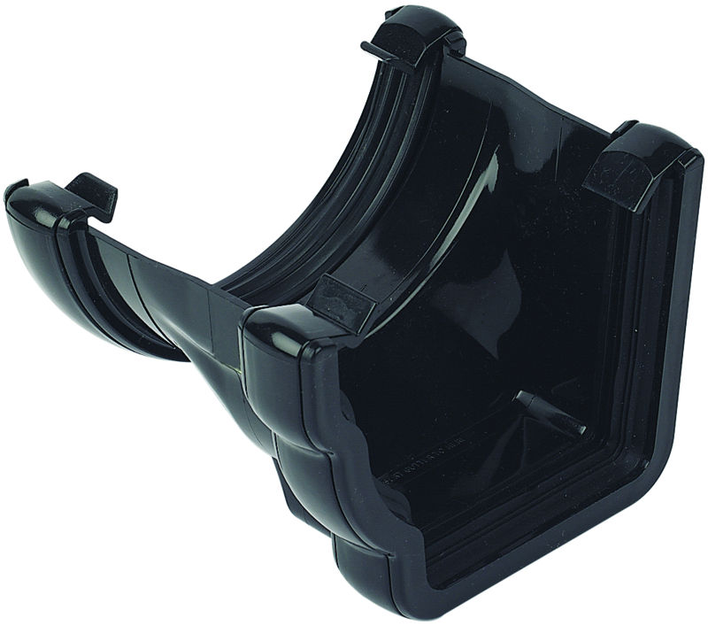 FLOPLAST 110MM NIAGARA TO 112MM HALF ROUND GUTTER ADAPTOR - L/H RNR4 - BLACK