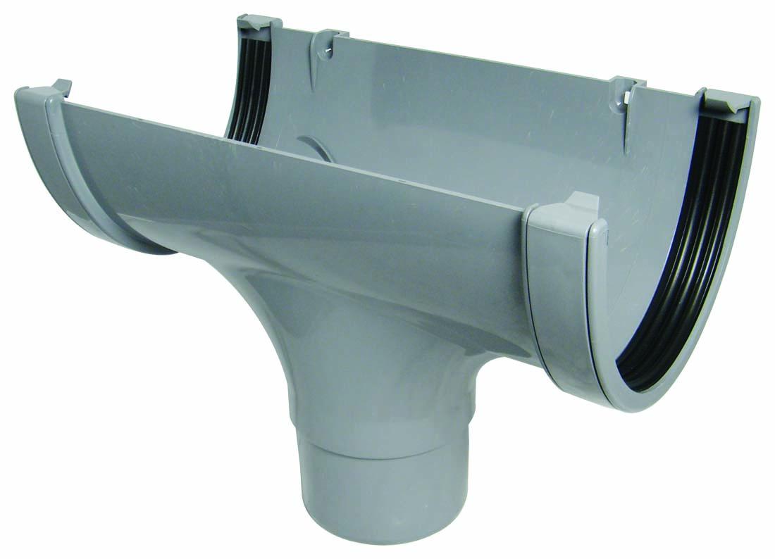 Floplast ROX1GR 170mm Xtraflo Gutter System - Running Outlet - Grey