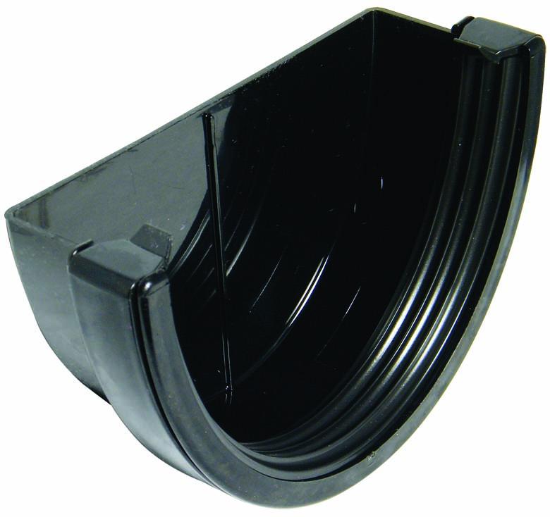 FLOPLAST REX1BL XTRAFLO 170MM GUTTER SYSTEM - EXTERNAL STOPEND - BLACK