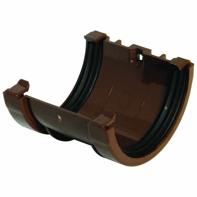 FLOPLAST MINIFLO 76MM GUTTER - RUM1 UNION BRACKET - BROWN