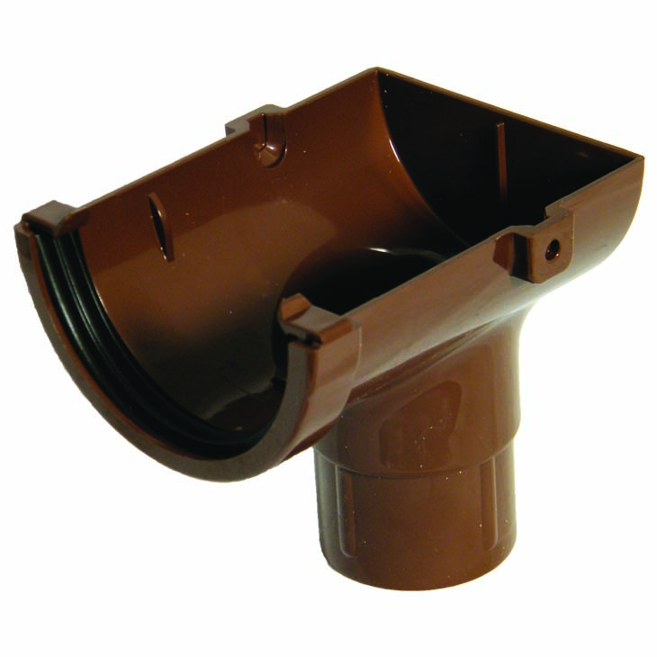 FLOPLAST ROM2BR MINIFLO 76MM GUTTER - STOPEND OUTLET - BROWN