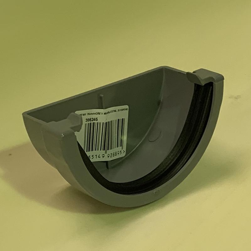 Floplast REM1GR 76mm Miniflo Gutter - External Stopend - Grey