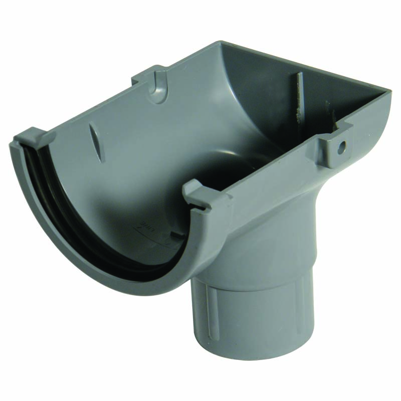 FLOPLAST MINIFLO 76MM GUTTER - ROM2 STOPEND OUTLET - GREY