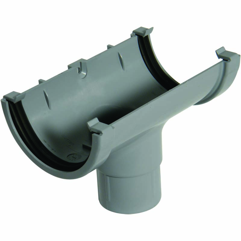 FLOPLAST ROM1GR MINIFLO 76MM GUTTER - RUNNING OUTLET - GREY