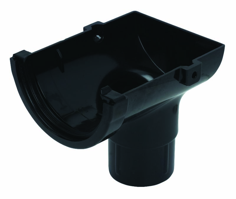 FLOPLAST ROM2BL MINIFLO 76MM GUTTER - STOPEND OUTLET - BLACK