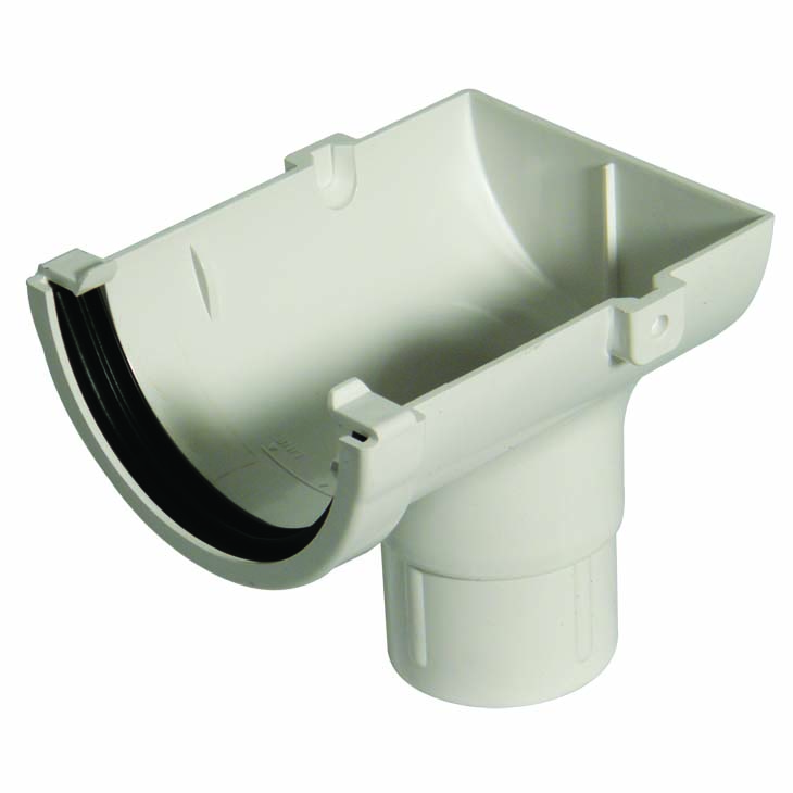 FLOPLAST MINIFLO 76MM GUTTER - ROM2 STOPEND OUTLET - WHITE