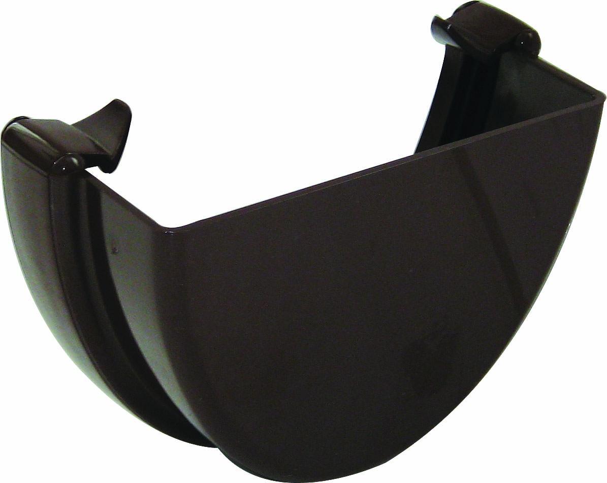 FLOPLAST REH1BR HI-CAP GUTTER - EXTERNAL STOPEND - BROWN