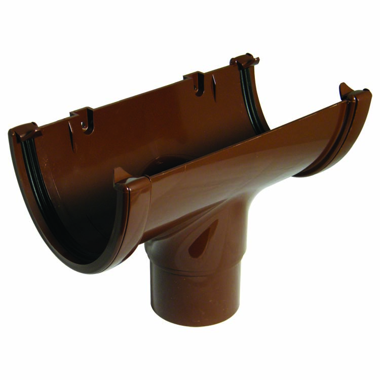 FLOPLAST ROH1BR HI-CAP (DEEPFLOW) GUTTER - RUNNING OUTLET (68MM) - BROWN