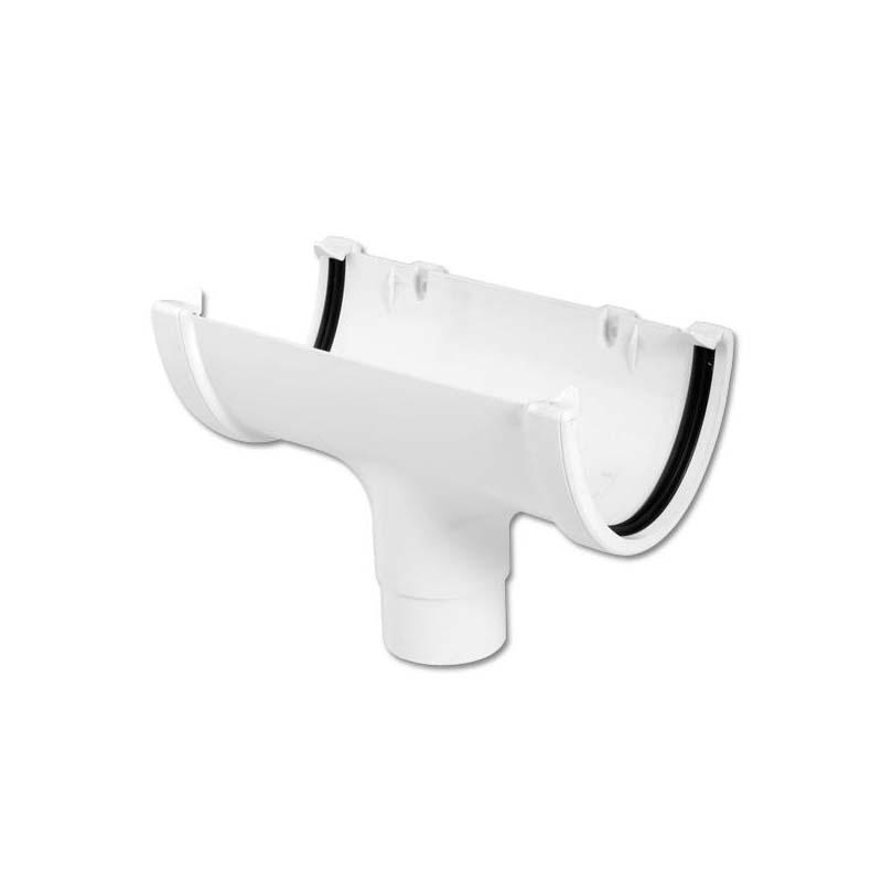 Floplast ROH1WH 115mm Hi-Cap (Deepflow) Gutter - Running Outlet (68mm) - White