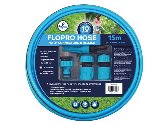 FLOPRO HOSE 15M 12.5MM (1/2IN) DIAMETER C/W CONNECTORS