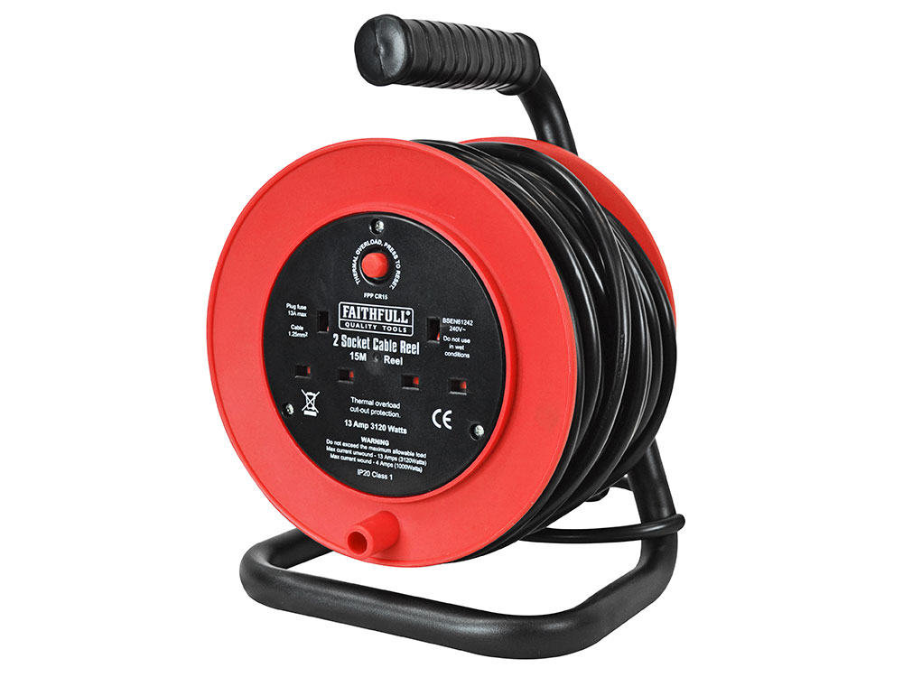FAITHFULL OPEN DRUM CABLE REEL 240V 13A 2 SOCKET 15M - FPPCR15