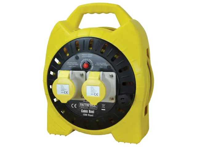 Faithfull Enclosed 15 Metre 16A 110V Cable Reel - FPPCR15MSEL