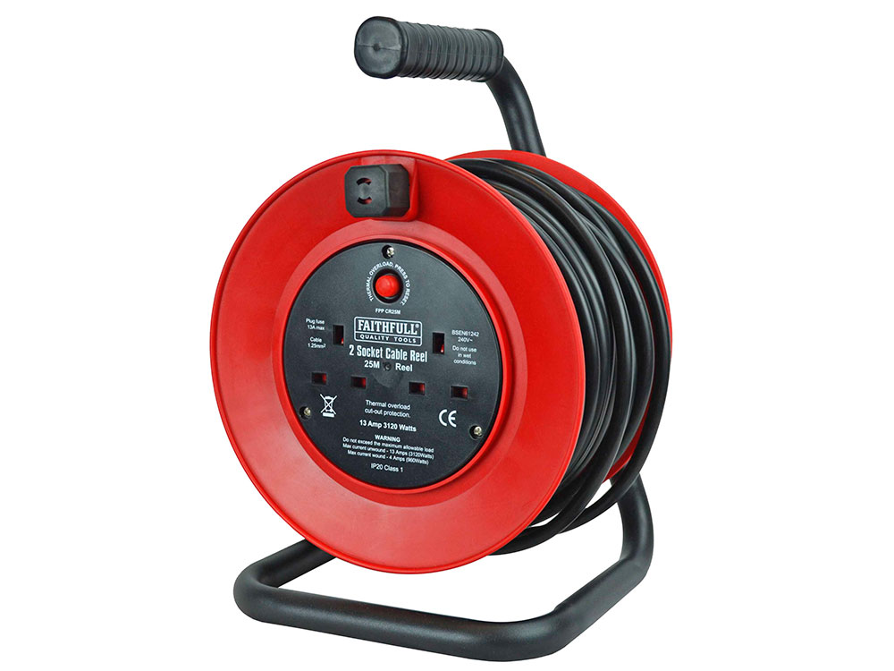 Faithfull 2 Socket 25 Metre Cable Reel 240V Open Drum - FPPCR25M