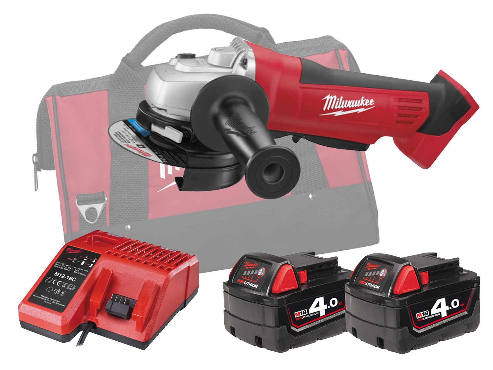 Milwaukee HD18AG-115 18V 115mm Angle Grinder with Paddle Switch - 4.0ah Pack
