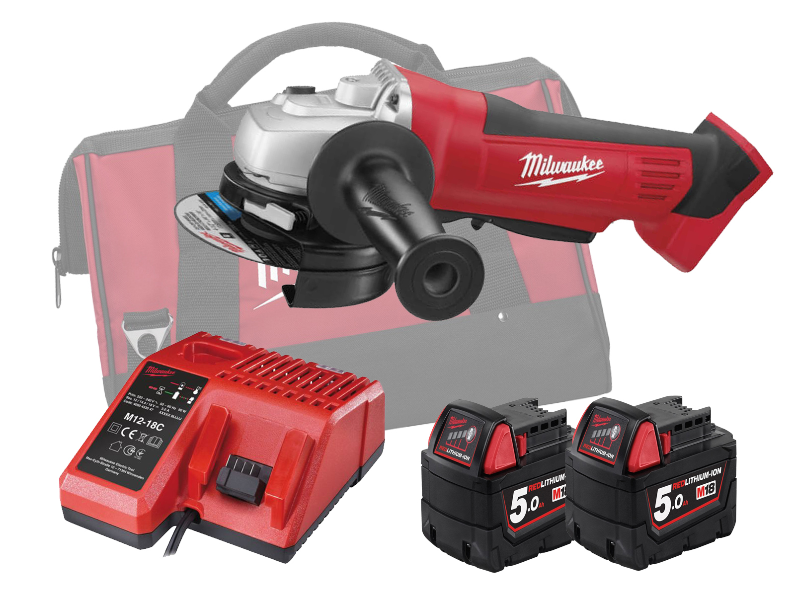 Milwaukee HD18AG-115 18V 115mm Angle Grinder With Paddle Switch - 5.0Ah Pack