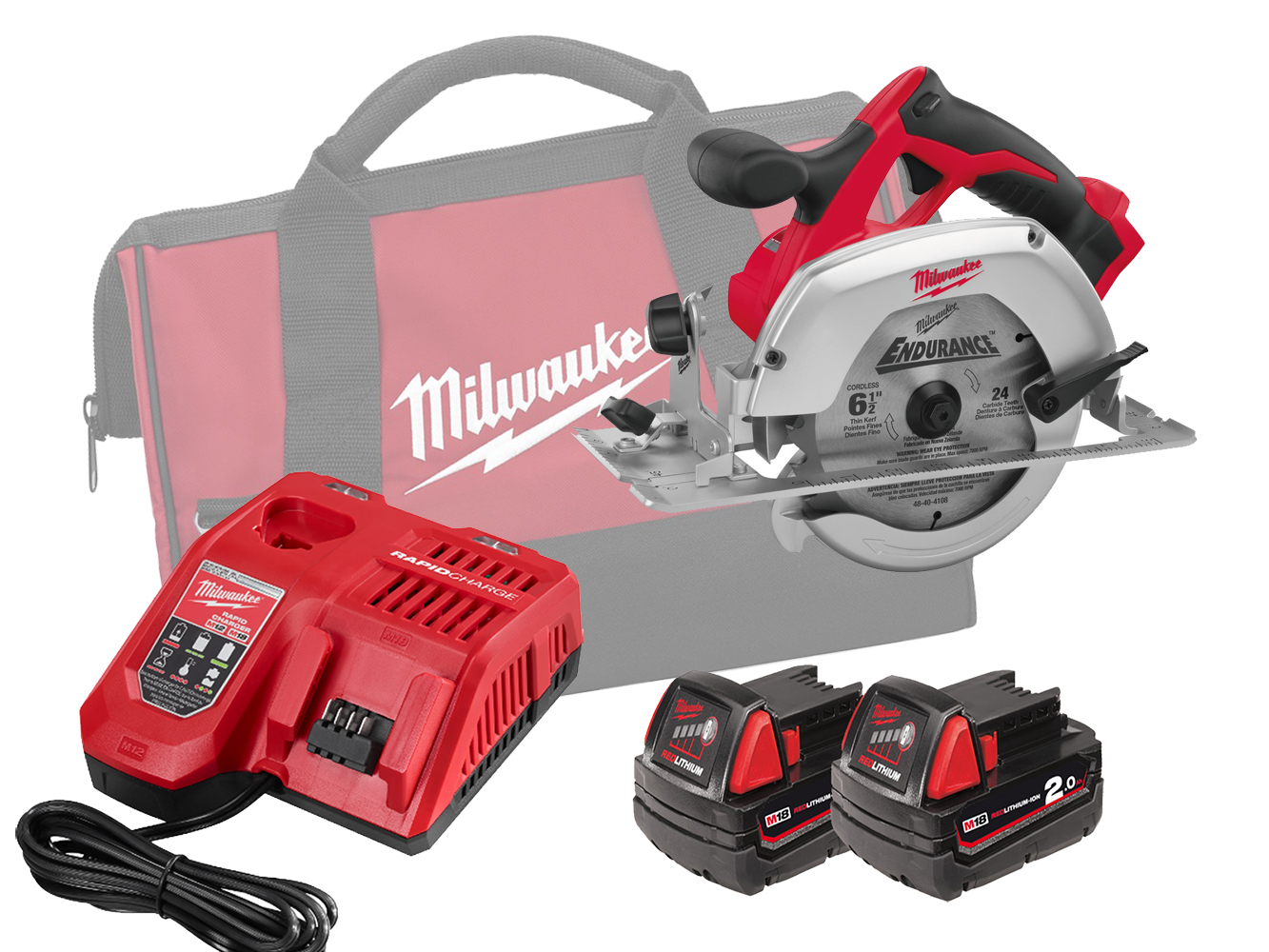 Milwaukee HD18CS 18V Heavy Duty 165mm (55mm) Circular Saw for Wood and Plastic - 2.0ah Pack