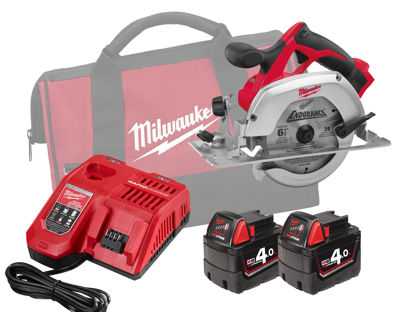 Milwaukee HD18CS 18V Heavy Duty 165mm (55mm) Circular Saw for Wood and Plastic - 4.0ah Pack