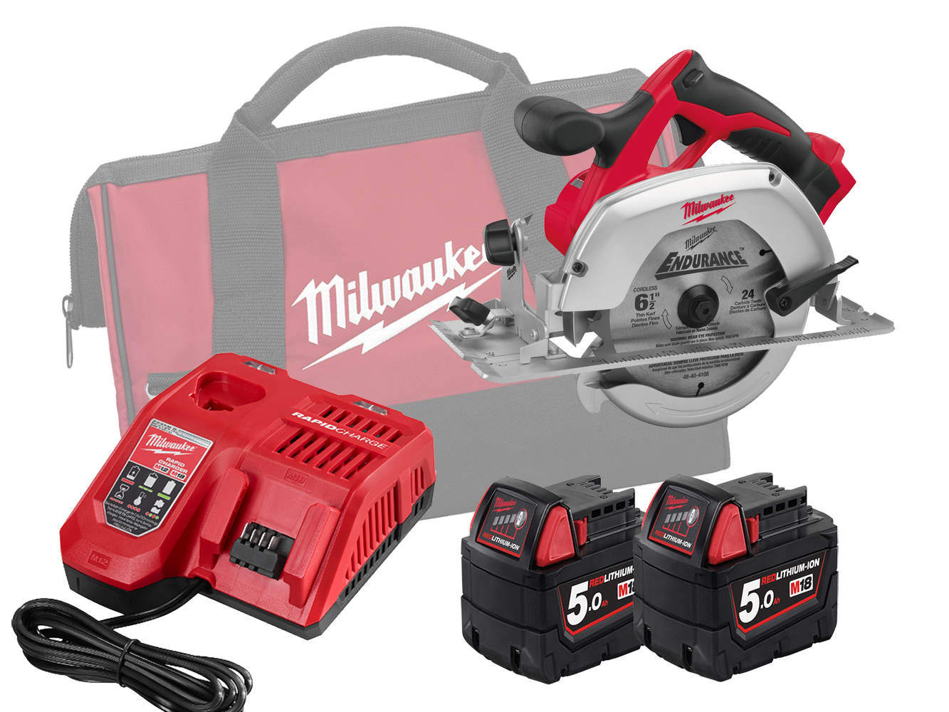Milwaukee HD18CS 18V Heavy Duty 165mm (55mm) Circular Saw for Wood and Plastic - 5.0ah Pack
