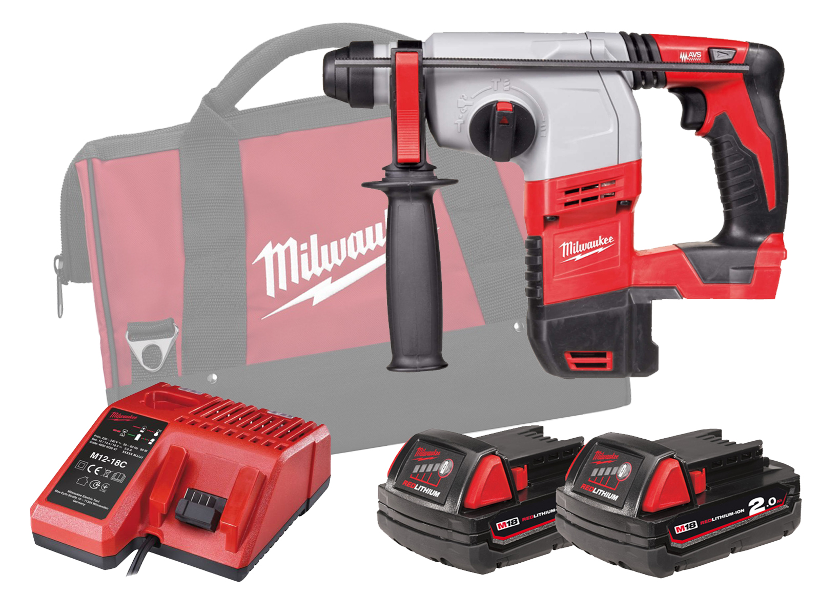 MILWAUKEE 18V BRUSHED 3-MODE SDS PLUS HAMMER - HD18HX - 2.0AH PACK