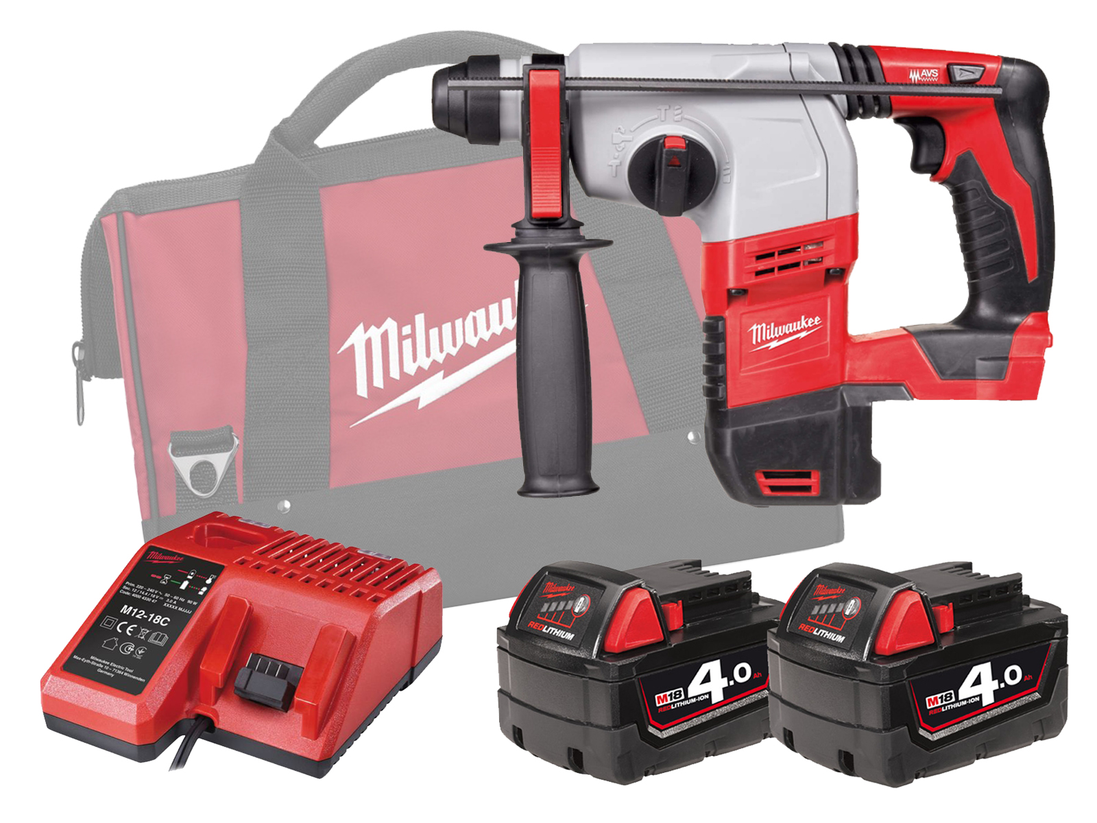 MILWAUKEE 18V BRUSHED 3-MODE SDS PLUS HAMMER - HD18HX - 4.0AH PACK
