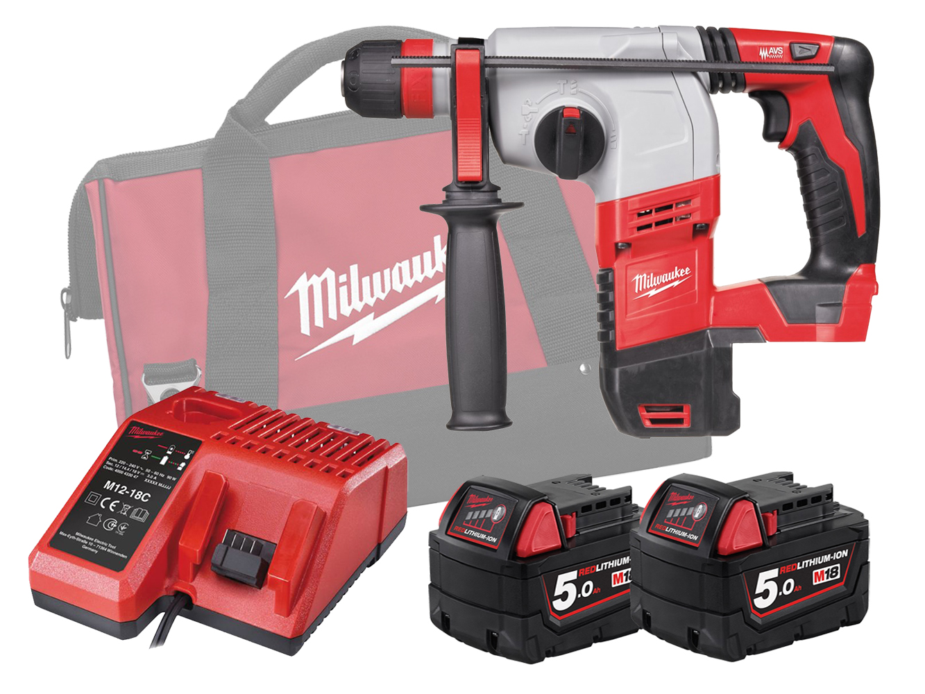 MILWAUKEE 18V BRUSHED 3-MODE SDS PLUS HAMMER - HD18HX - 5.0AH PACK