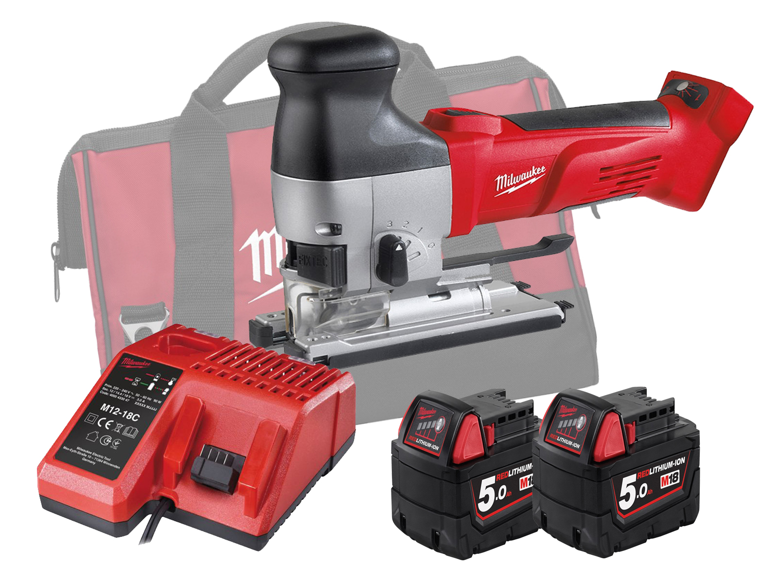 MILWAUKEE 18V HEAVY-DUTY BODY GRIP JIGSAW - HD18JSB - 5.0AH PACK