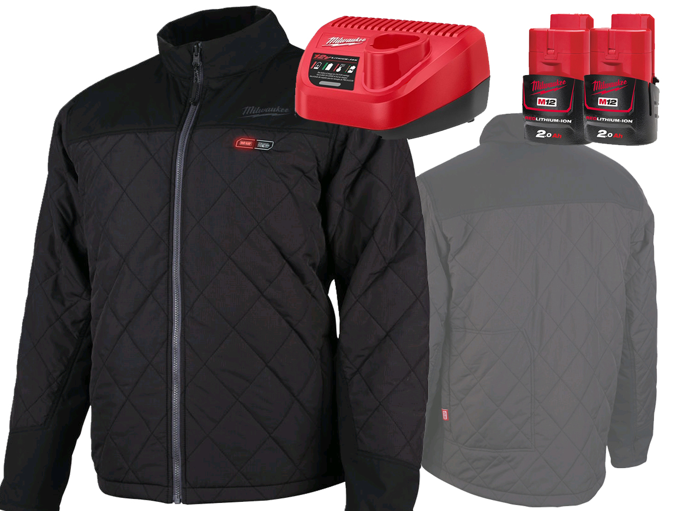 MILWAUKEE 12V BLACK HEATED PUFFER JACKET - GEN 1 - MEDIUM - 2.0AH PACK