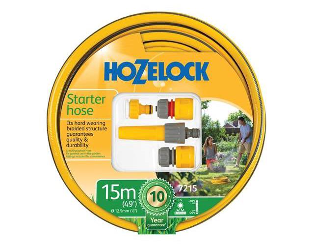 HOZELOCK HOSE STARTER SET 15 METRE 12.5MM (1/2IN) DIAMETER