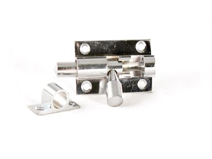 """BRASS BARREL DOOR BOLT CHROME 51mm x 25mm / 2"""" x 1"""""""
