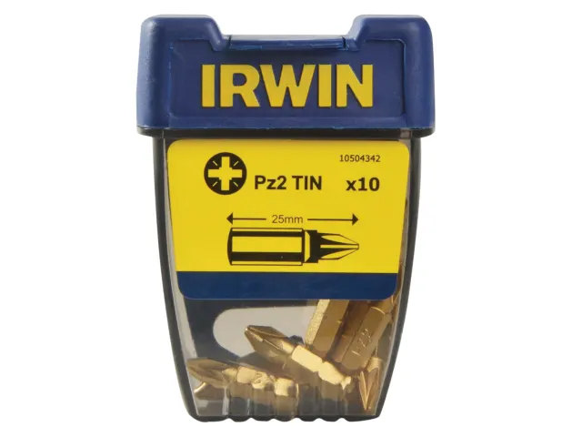 Irwin Screwdriver Bits Pozidriv PZ2 25mm Titanium (Pack of 10) - 10504342