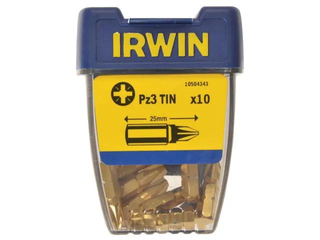 Irwin Screwdriver Bits Pozidriv PZ3 25mm Titanium (Pack of 10) - 10504343
