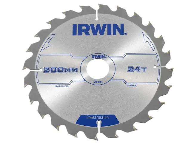 IRWIN CONSTRUCTION CIRCULAR SAW BLADE 200 X 30MM X 24T ATB