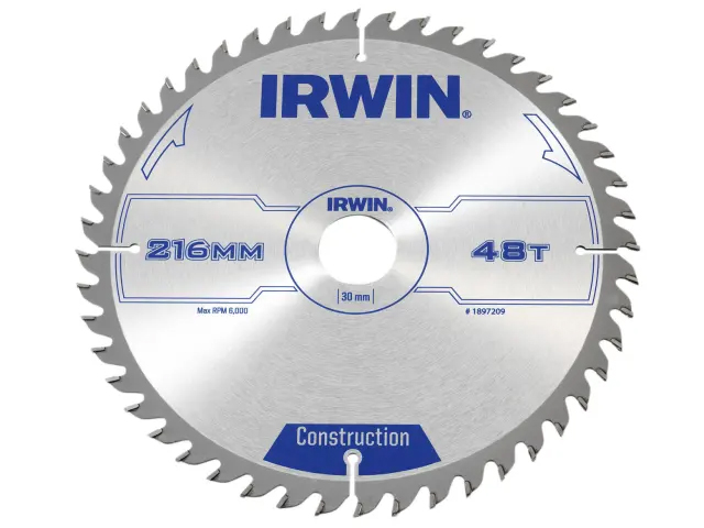 IRWIN GENERAL PURPOSE TABLE AND MITRE SAW CIRCULAR SAW BLADE 216 X 30MM X 48T ATB