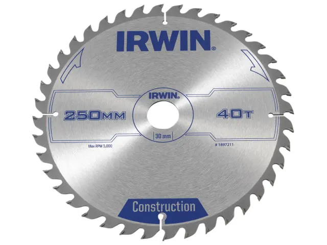 IRWIN GENERAL PURPOSE TABLE AND MITRE SAW CIRCULAR SAW BLADE 250 X 30MM X 40T ATB
